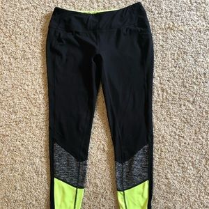 Tangerine Black, Gray & Neon Yellow Workout Pants
